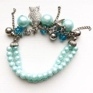 Chic cool blue pearl & sea charm stretch bracelet